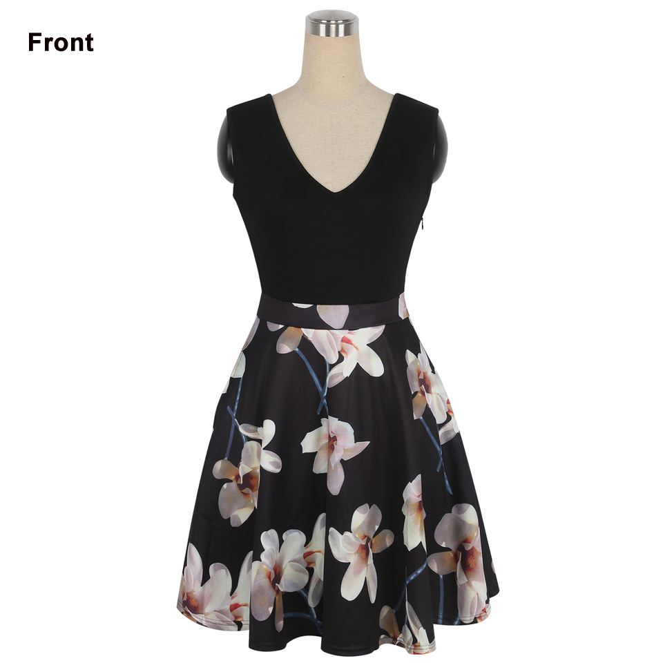 Oxiuly Әйелдер Vintage 1950s style Dress Floral Басып - Әйелдер киімі - фото 2