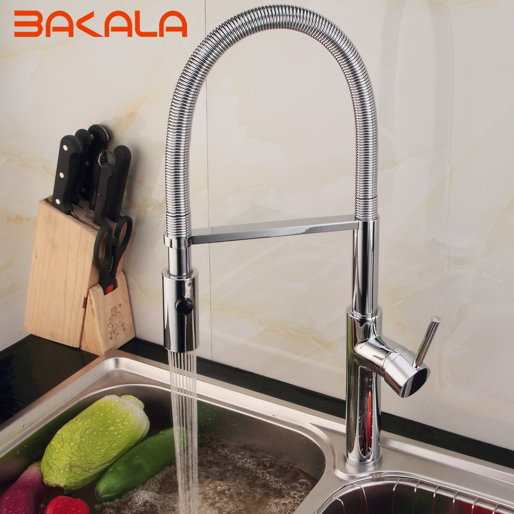 BAKALA Brass Torneira Cozinha Kitchen Faucets Hot And Cold Water Chrome Basin Sink Square Cozinha Taps Mixers BR-9203