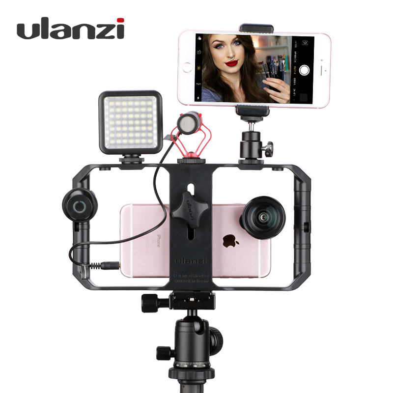 Ulanzi Smartphone Video Rig Youtube Facebook Live Stream Stabilizer w Microphone Led Light Bluetooth Remote Control for iPhone 8 ulanzi selfie stick tripod w by m1 microphone led video light aluminum phone tripod mount for iphone video youtube livestream
