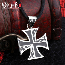 Free give black rope Beier 925 silver sterling retro classic cross pendant necklace fashion man Jewelry  A1076