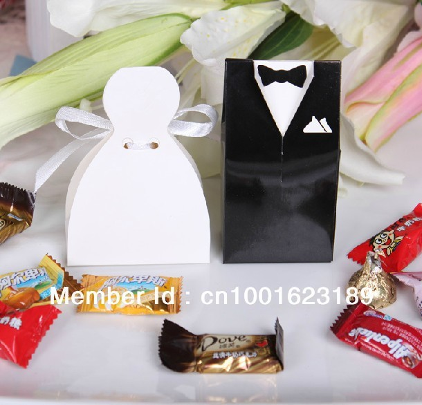 2012 Hot Sell 100pcs Bride and Groom Wedding Favor Boxes gift box Personality and Creative Candy Box