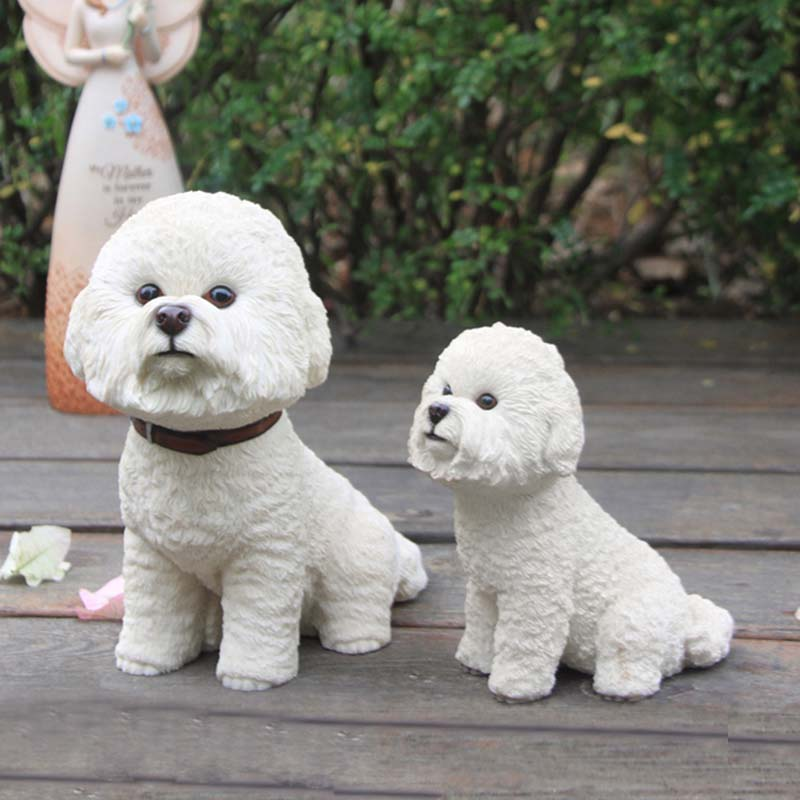 Mnotht Bichon Frise Simulación Perro Resina Cachorro Modelo de - Figuritas de juguete - foto 6