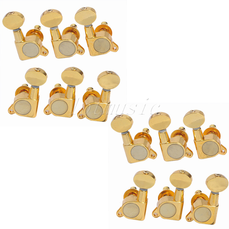 2 Set Gold 3L3R Guitar Tuning Pegs Machine Heads For Electric Guitar Replacement a set chrome sealed gear tuning pegs machine heads tuners for guitar with black big square wood texture buttons
