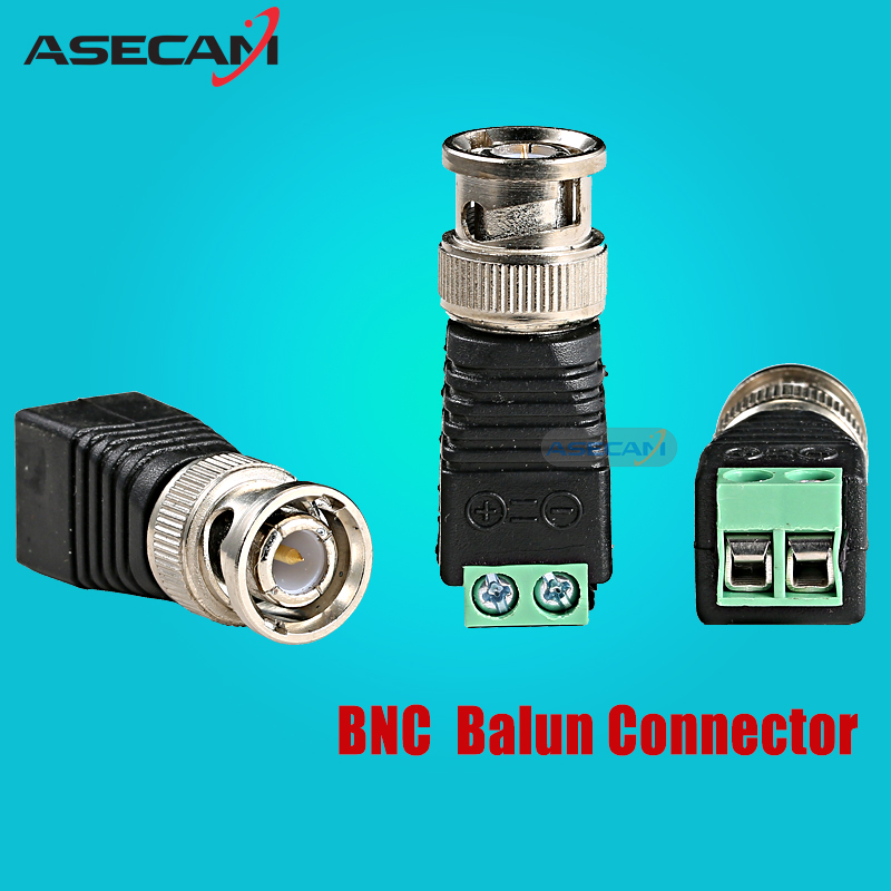 ASECAM High Qualit BNC Video Balun Connector Plug Adapter Mini Coax CAT5 To Security Camera For CCTV System Free shipping 2pcs lot 1 5m 4 9ft coax cat5 to camera cctv bnc cable video connector adapter bnc plug for cctv system free shipping