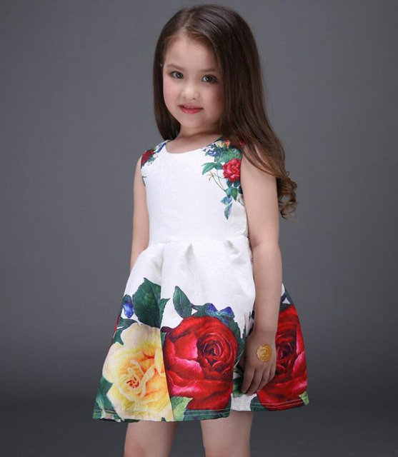 2017 new summer girls dress white designer brand new children clothing rose flower princess wedding party Lace girl clothes 4