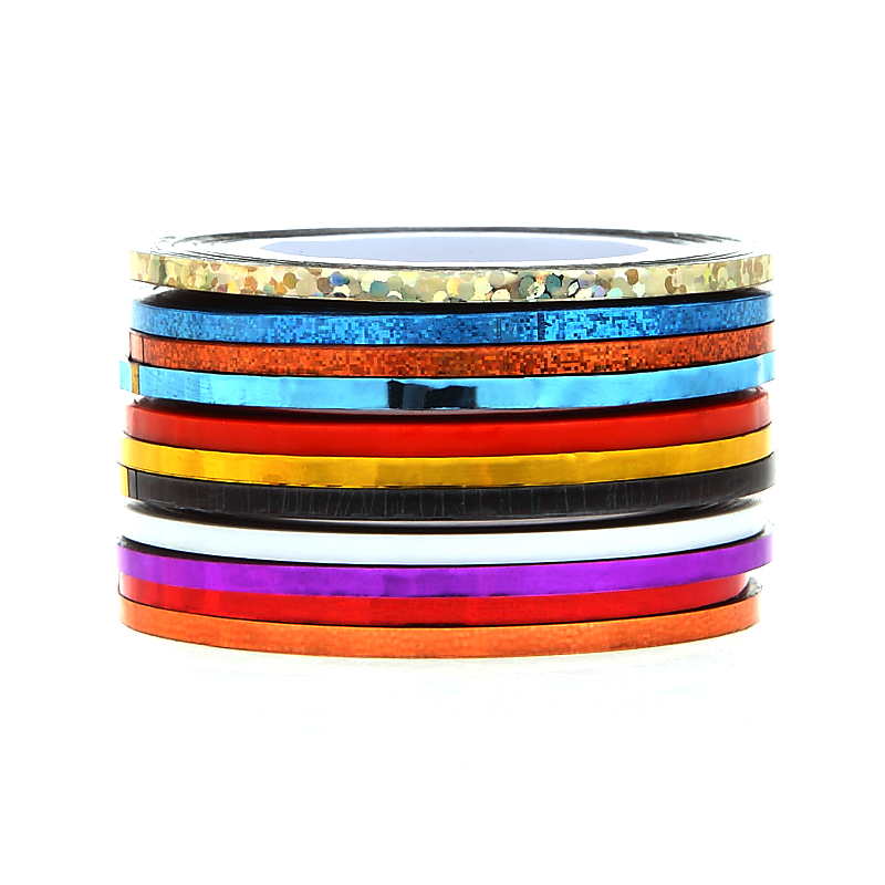 Monja 10pcs 2mm Mix Colors Rolls Metallic Adhesive Striping Tape Wide Line  DIY Nail Art Tips Strip Sticker Decal Decoration Kit-in Stickers   Decals  from ... 05d3a34514cf