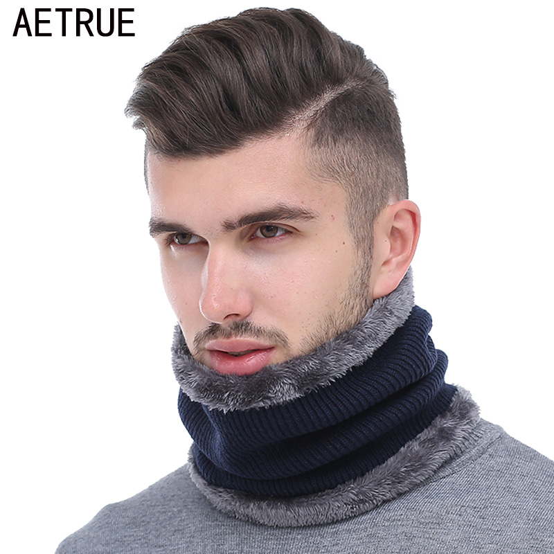 AETRUE Winter Men Scarf Ring Knitted Scarves For Men Women Neck Snood Warp Thickened Wool Collar Warm Soft Scarves Fashion 2018