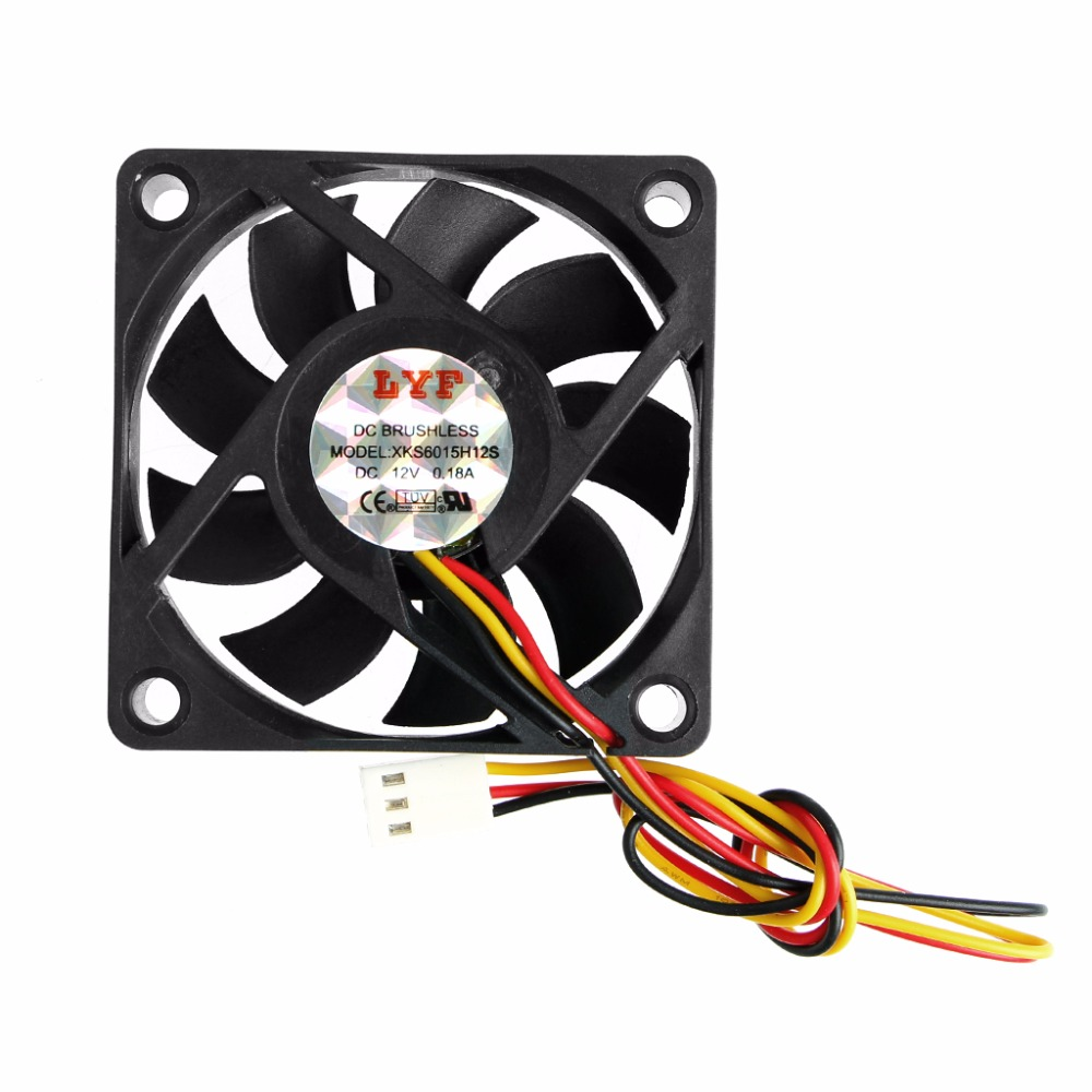 DC 12V 3-Pin 60x60x15mm PC Computer CPU System Sleeve-Bearing Cooling Fan 6015 C26