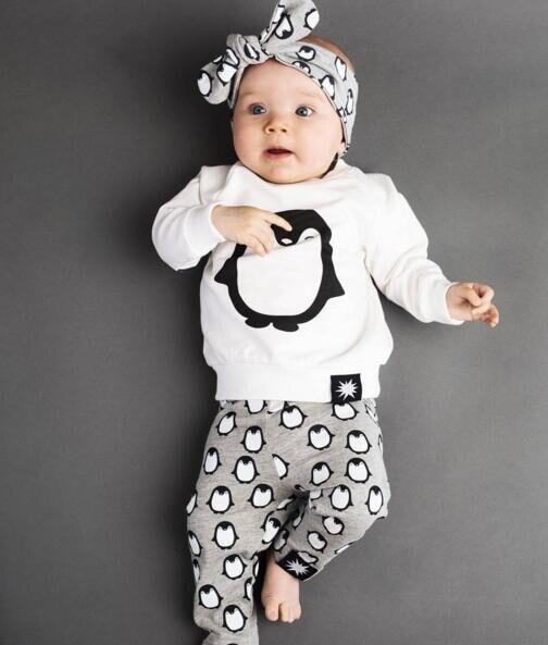Moda bebé Niños Niñas Ropa conjuntos 2 unids piezas bebé Niños Niñas Ropa de manga larga Camiseta + Pantalones lindo pingüino recién nacido bebé trajes