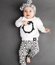 Newborn Infant Baby Clothes Outfits 2019 Fashion Long Sleeve Penguin T-shirt+Pants+Headband 3PCS Baby Boys Girls Clothing Sets
