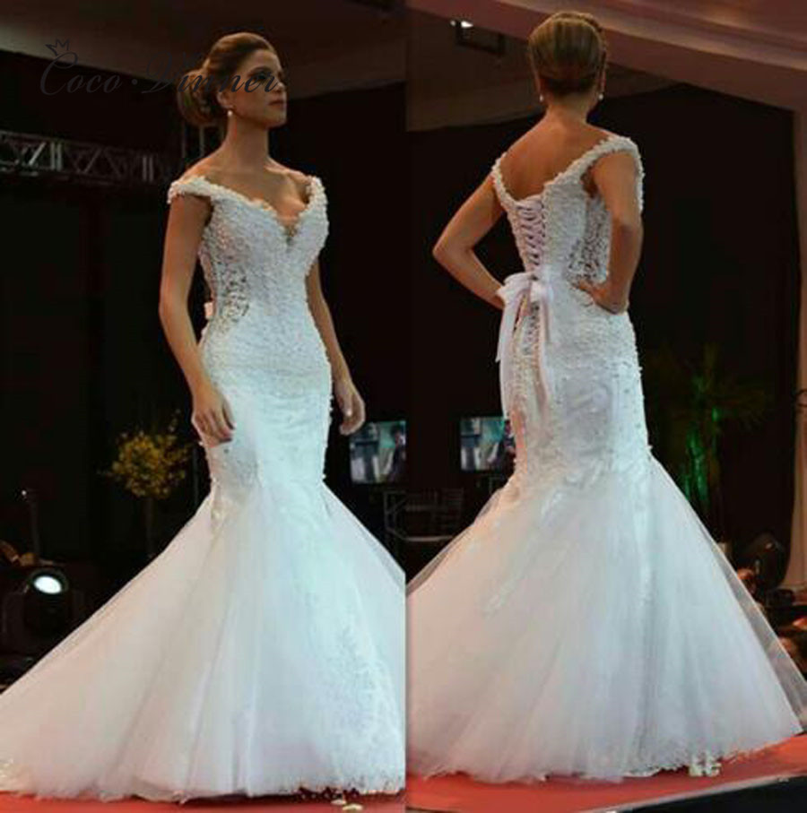 Sexy Deep V Neck Pearl Wedding Dresses Mermaid Style Africa New 2019 White Lace Appliques Plus Size Tulle Wedding Gowns W0368