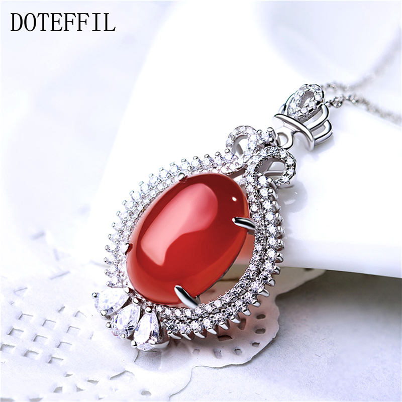 925 Sterling Silver Women Necklace Red AAA Crystal Zircon Crown Pendant Necklaces Female Charm Fashion Jewelry
