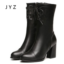 Fashion New Womens Mid Calf Snow Boots Winter Keep Warm Platform Pumps Fur High Heels Lady Size 40 wo180818