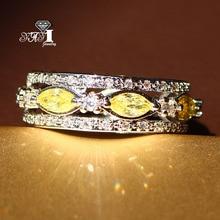 d5dc5198118f Yayi joyería moda princesa corte 3.6 CT amarillo ZIRCON plata color Anillos  de compromiso boda Anillos partido Anillos