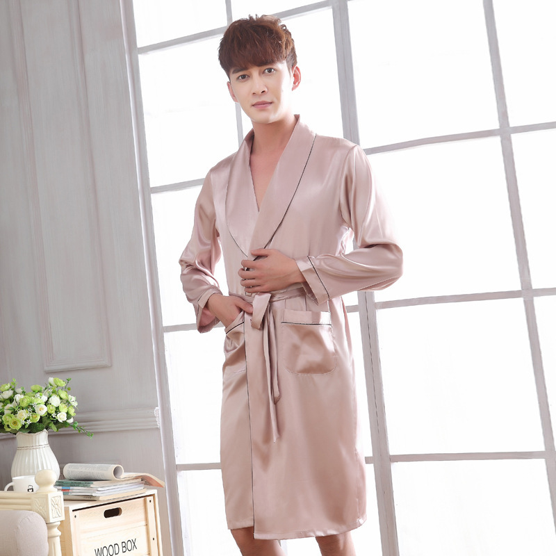2019 Lounge Sleepwear Silk Nightwear For Men Silk Bathrobes Noble Dressing gown Men's Sleep Robes