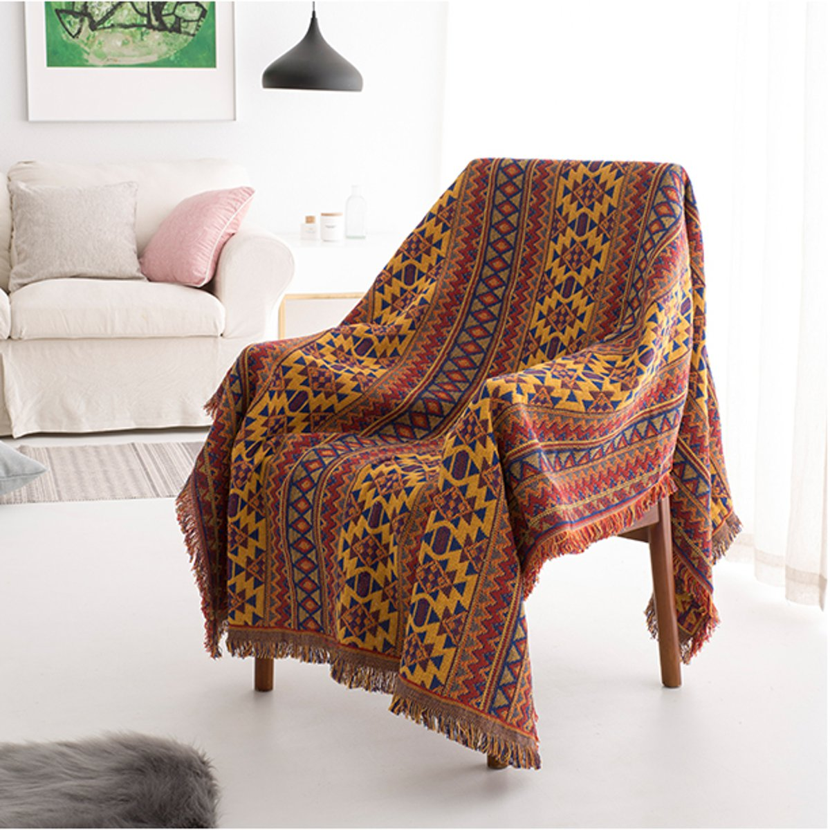 Lounge Throw Us 34 79 49 Off Cotton Bohemian Throw Blanket Boho Rug Couch Lounge Sofa Chair Bedding Blankets Towel Home Hotel Decoration Textiles 240x90cm In