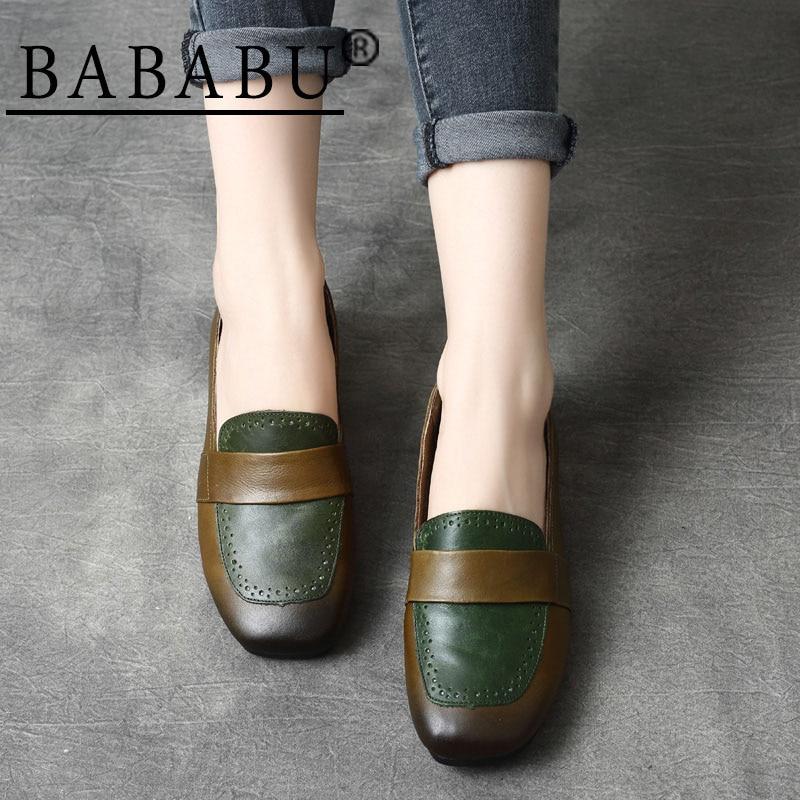Appartements Femmes Véritable De Nouveau Chaussures Cuir À Style Mode Bababu Slip on Casual Coffee Bout Carré green En QoBeWxrdC