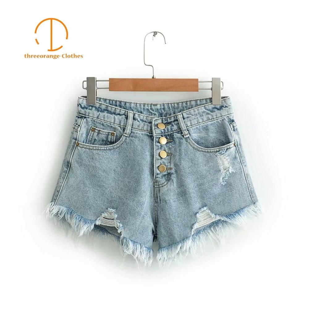 Summer Short Jeans Za Classical Single Breasted Cool Pocket Tassels Holes Denim Fashion Casual Streetwear Girls Hot Jeans Women