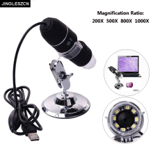 Promo offer JINGLESZCN New Mega Pixels 8 LED USB Digital Microscope Endoscope Camera Electronics Microscopio Magnifier 1000X 800X 500X 200X