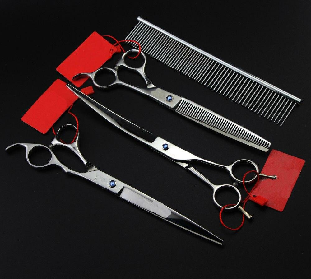 8 0INCH Professional Premium Sharp Edge Dog PET GROOMING SCISSORS SHEARS Cutting Curved Thinning scissors Steel