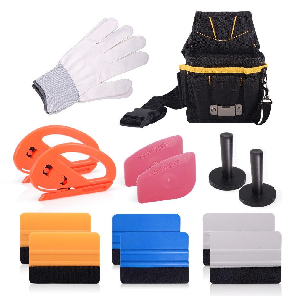 EHDIS 14 pièces professionnel housse de voiture en vinyle outils Kit teinte raclette outil sac Cutter couteau gant aimant supports Auto vinyle emballage