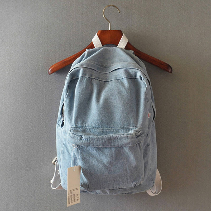 Japanese college wind denim backpack solid casual travel bag couple shoulder bag school bags for girls deep blue and light blue whisky premium deep blue 90 мл parfums evaflor whisky premium deep blue 90 мл