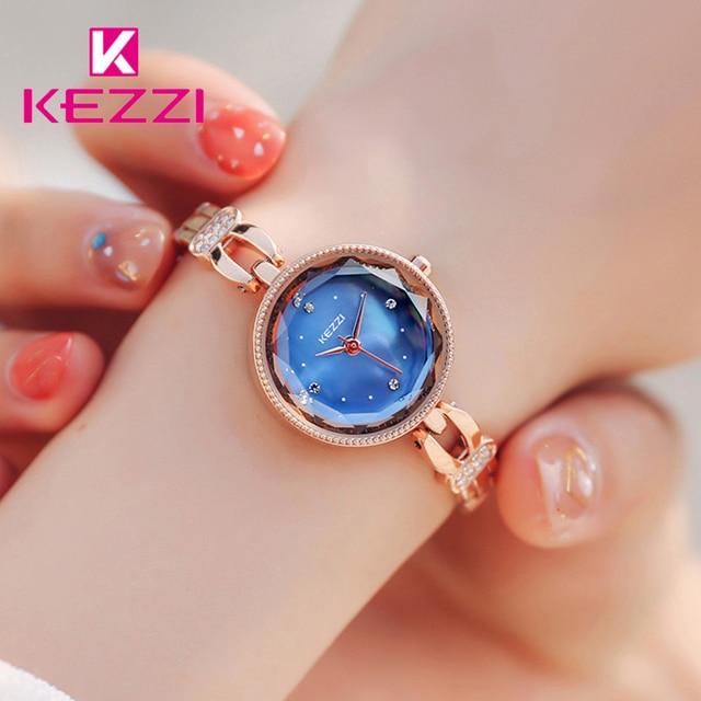 Kezzi Brand Lady Classic Blue Quartz Bracelet Watch Woman Luxury Rhinestone Rose