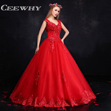 CEEWHY luxuary Sexy V Design Long Embroidered Evening Dresses Beaded 2018  Ball Gown Prom Dresses Vestido De Festa Plus Size f234b5977128