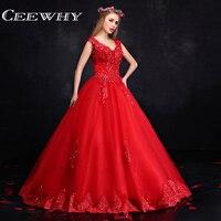 Custom Made Red Thêu Ren Lên Sequined Tay Sexy Backless Tầng-Length Quinceañera Dresses 2017 Sweet 16 Bóng Áo