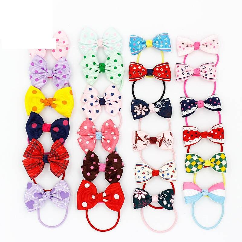 #30902 Baby girls hair accessories wholesale rezinochki 12pcs/lot elastic tie gum ribbon bows gum for hair