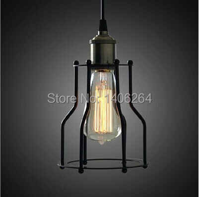 Edison Cage Pendant Light Fixture Matte Black/Antique Brass Ceiling Lamp Droplight For Bar Store Hall Club Coffee Shop Decor industrial vintage edison hanging light mini pendant ceiling lamp for cafe bar hall coffee shop club store restaurant gallery