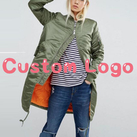 Benutzerdefinierte Ihre Eigene Logo 2017 Winter Streetwear Steppmantel Frauen Parka Lange Bomberjacke Olivgrün Rosa Schwarz