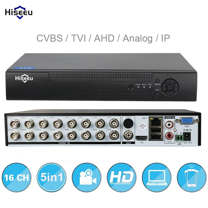16CH 5in1 AHD DVR Поддержка CVBS TVI AHD аналоговые ip-камеры HD P2P облако H.264 VGA видеомагнитофон HDMI RS485 аудио hiseeu