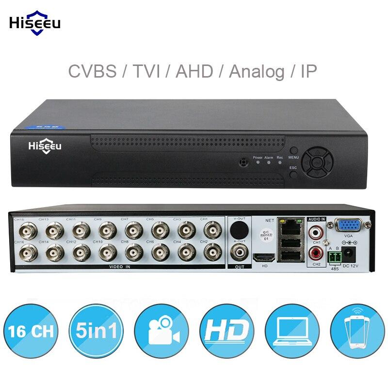 5in1 16CH AHD DVR TVI AHD Analógica CVBS apoio Câmeras IP HD H.264 VGA HDMI gravador de vídeo P2P Nuvem RS485 Áudio Hiseeu