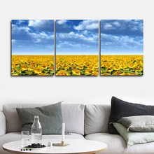 Laeacco Canvas Calligraphy Painting 3 Panel Abstract Sunflowers Blue Sky Poster and Print Wall Decor for Home Living Room