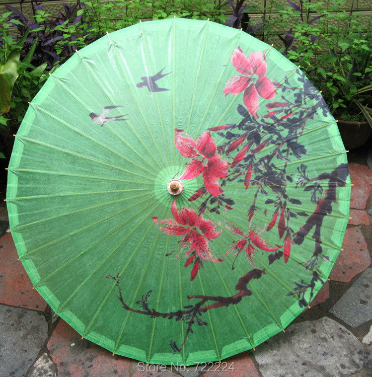 Green Color Spring Birds Picture Oil Paper Bamboo Craft Traditional Handmade Dance Parasol Japanese Wedding Props  Umbrella