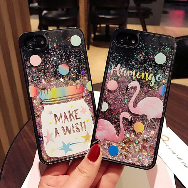 finest selection 4ab25 413e5 US $4.99 |KISSCASE For iPhone 8 8 Plus Case Cosmic Star Flamingo Liquid  Flow Sand Mobile Phone Case For iPhone 7 7 Plus 6 6S Girly Cover -in Fitted  ...