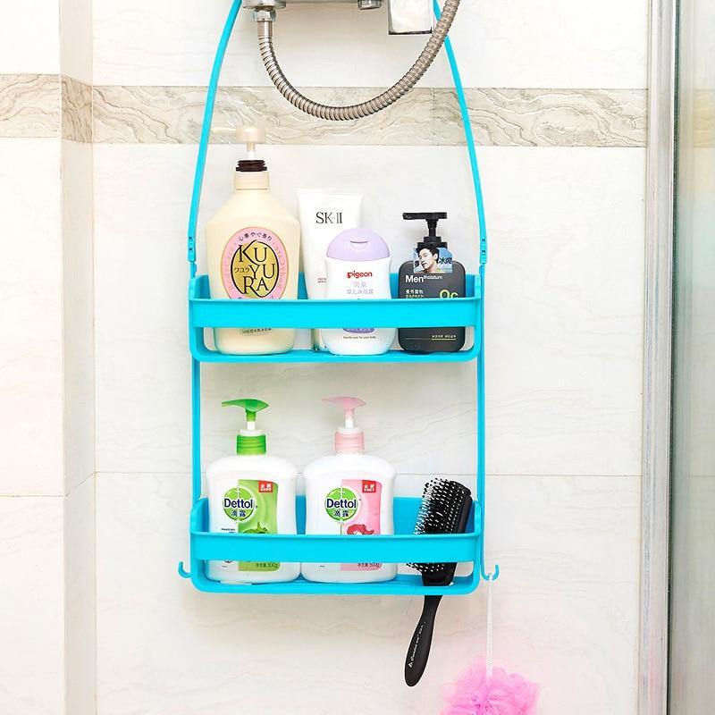 Ванная комната двухслойная подвесная полка принадлежности для ванной стеллаж для хранения пластмассовый DIY держатель для душа Органайзер аккуратный кухонный стеллаж для хранения Подставки для хранения и стеллажи      АлиЭкспресс