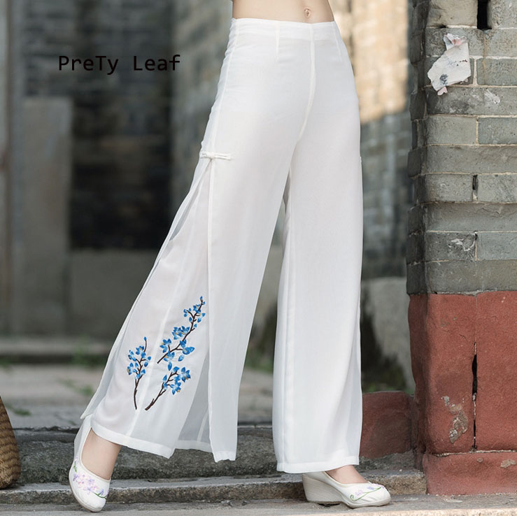 National wind 2017 autumn loose large size embroidered chiffon double   wide     leg     pants