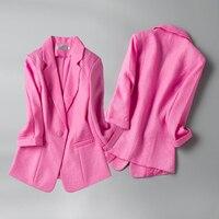 spring fashion Cotton and linen Blazer Jackets Women Suit Work Style Suit ladies blazer Three Quarter Blazer Outerwear