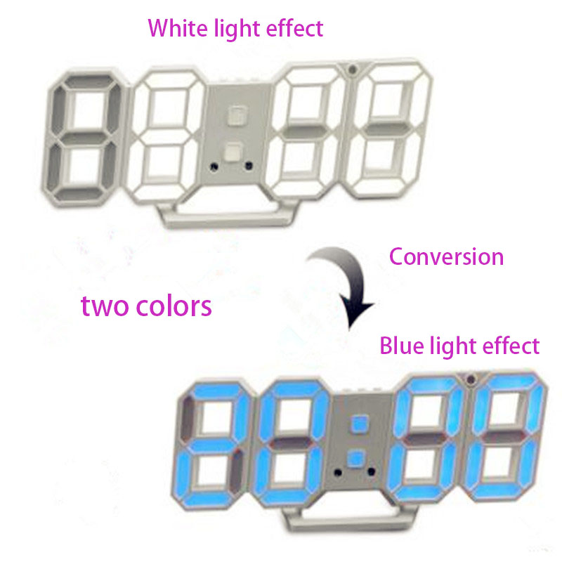 2019 New Style 3D LED Digital Wall Clocks 24 / 12 Hours Display 3 Brightness Levels Two-color Dimmable for Home Kitchen Office image