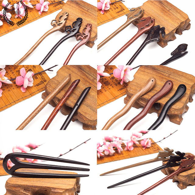 Hair jewelry Ethnic animal hair accessories clips Classic sandalwood coiled hair