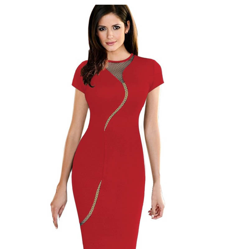 Tianyi Sexy Lingerie Store New Fashion Short Sleeves Red Sexy O-Neck Party Office Midi Dress One Piece 2015 Hot Sale Woman Formal Midi Dress L36051-2