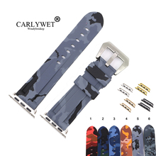 CARLYWET 38 40 42 44mm Camo Grey Black Waterproof Silicone Rubber Replacement Wrist Watch Band Strap For Iwatch Series 4/3/2/1 carlywet 22 24mm camo blue black grey red waterproof silicone rubber replacement watch band loops strap for panerai luminor