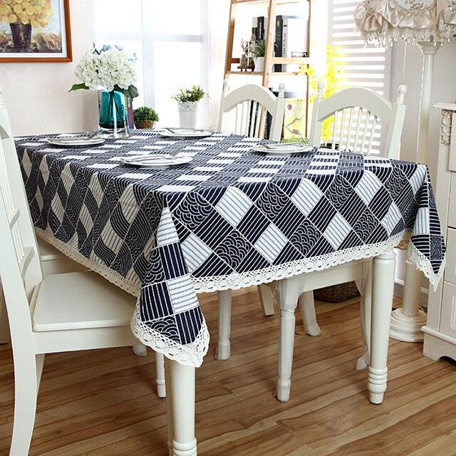 Toalha de Mesa de linho de Algodão Confortável Padrão de Onda Branco Rendas Hem Splice Lavável Pano de Tabela para o Café Jantar Banquete de Casamento