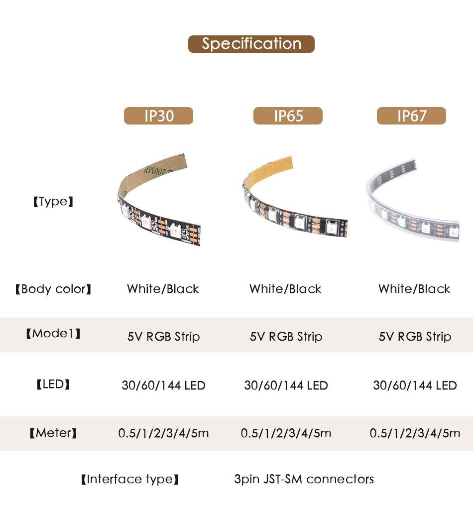HTB1NiTNXEGF3KVjSZFmq6zqPXXap WS2812B LED Strip DC 5V Black White PCB Smart Addressable Pixel WS2812 IC 30/60/144 LEDs 17Key Bar RGB 50CM 1M 2M 3M 4M 5M