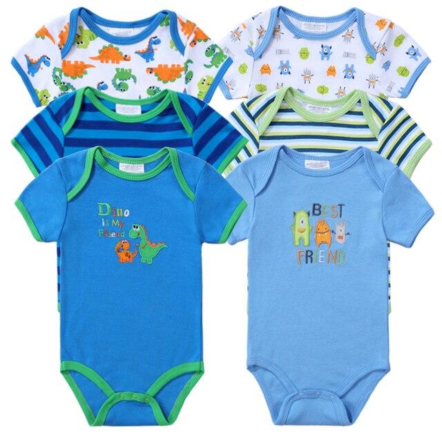 6c56d4fdb84a3 Cute 6 PCS/lot Newborn Baby Bodysuits Boy Summer Baby Clothes O-neck 0-12M  Baby Jumpsuit 100%Cotton Baby Clothing Infant Sets