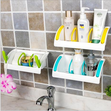 2015 Plastic Storage Container Suction Hanging Wall Kitchen Utensil Storage  Holder Storage Holder In Candy Blue