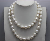 beauty 12 14mm 35inch natural south seas Australian baroque white pearl necklace