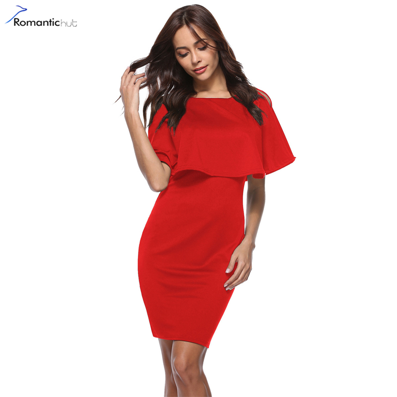 Romantichut Elegant Ruffles Form Fitting Bodycon Dress